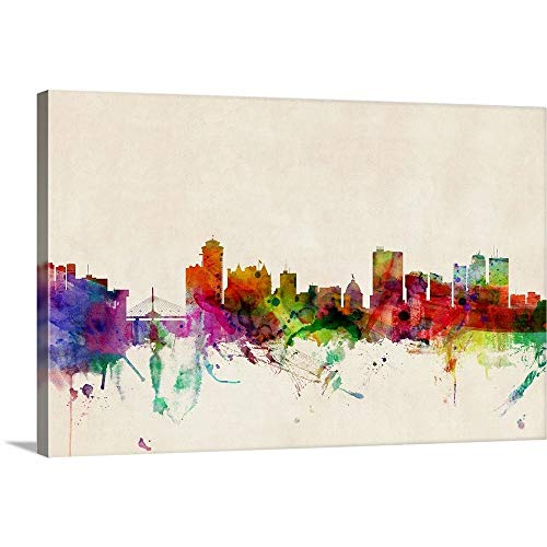 GREATBIGCANVAS Gallery-Wrapped Canvas Entitled Winnipeg Canada Skyline by Michael Tompsett 60