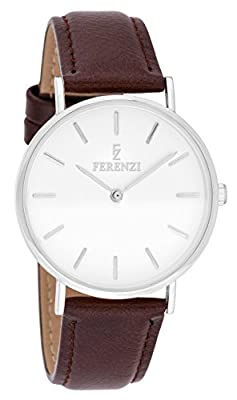 Ferenzi Women's - FZ18703 - Classic Silver-Tone and Burgundy Leather Watch