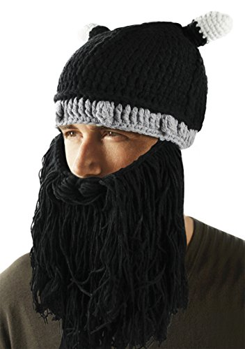 [Warm Knitted Beanie Hat Cap Halloween Hat Facial Hair Mask Costume] (Black Russian Male Adult Costumes)