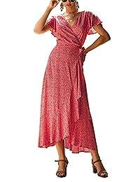 LANISEN Women Deep V Neck Boho Beach Sun Dresses Floral Print Maxi Casual Wrap Dress