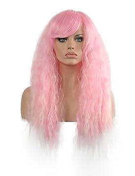 onda natural de longitud larga de color rosa peluca sintética popular para la mujer , pink