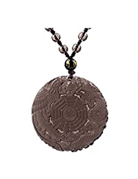 ZTAN Engraving Ice Obsidian Crystal Stones Pendant Necklace Dragon and Phoenix Pattern with Extend Bead Chain for Men Or Women