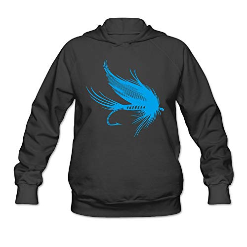 Womens Fly Fishing Lure Hooded Sweatshirt, Warm 100% Cotton Sweatshirt for Youth -