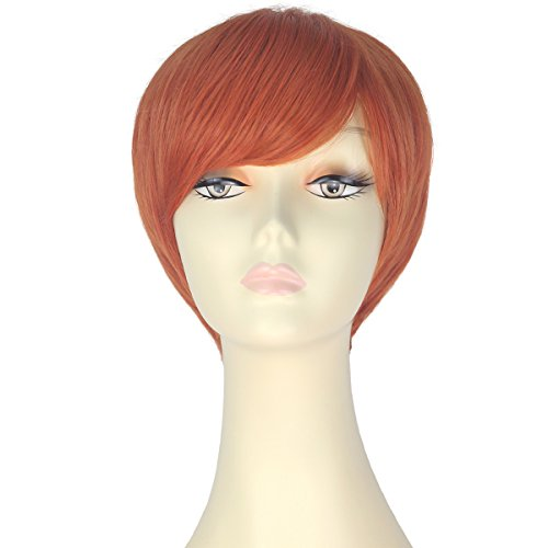 Decent Women Girl Short Straight Bob Hair Party Daily Cosplay Lolita Wig Halloween (Orange)]()