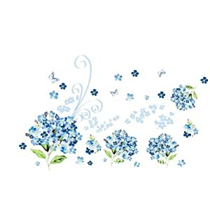 Createforlife Home Decoration Art Vinyl Mural Wall Sticker Decal Blue Butterfly Flowers Decal Paper