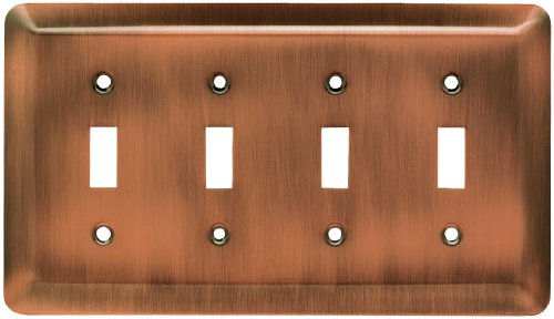 Franklin Brass 64101 Stamped Steel Round Quad Toggle Switch Wall Plate / Switch Plate / Cover, Antique Copper
