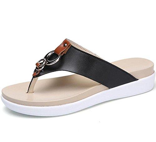 KUKI Damen Sandalen Mode dicken Boden Zehen Sandalen 2
