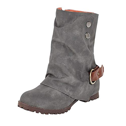 BaZhaHei Warm Short Leather Boots Women Buckle Strap Shoes Leather Patchwork Shoes Low Heels Boots Round Toe Martin Boots Outdoor Loafers Fashion Shoes Size 2.5-8 Gray