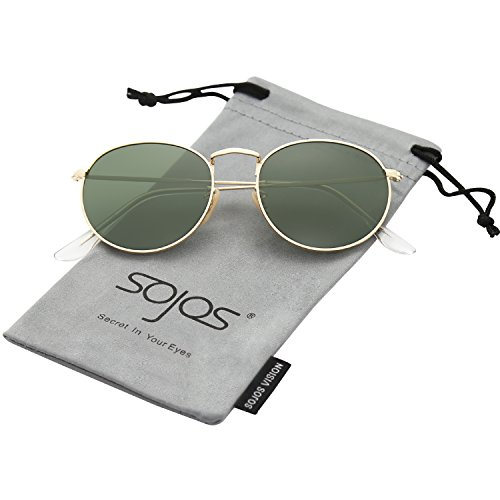 SojoS Small Round Polarized Sunglasses Mirrored Lens Unisex Glasses SJ1014 3447 With Gold Frame/G15 - Rated Womens Top Sunglasses