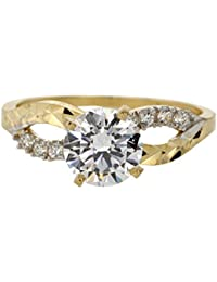 CHOOSE YOUR COLOR 14k Yellow Gold Round Solitaire Infinity Knot Engagement Ring