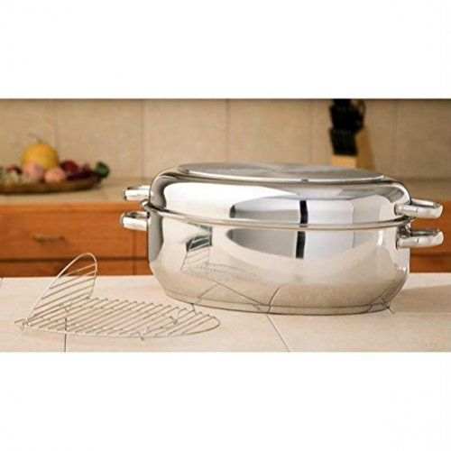 Precise-Heat Multi-Use Baking and Roasting Pan with Easy Lift Wire Rack, Stainless Steel by Precise Heat