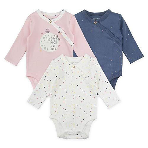 Baby Girl Bodysuit Set, 3-Pack Long Sleeve Kimono Bodysuits
