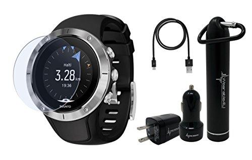 Suunto Spartan Trainer Wrist HR Multisport Lightweight GPS Watch and Wearable4U Ultimate Power Pack Bundle (Steel)