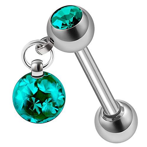 - Steel 14g 5/16 8mm Ear Barbell Piercing Jewelry Helix Cartilage Lobe Tragus 4mm Ball 5mm Blue Zircon Ferido Crystal M2164