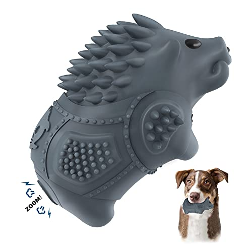 Tough Rubber Dog Chew Toys for Aggressive Chewers -Porcupine Shaped Squeaking Interactive Toys for Small & Medium Breed Dog Teeth Grinding and Dog Toothbrush Pet Milk Flavor Toys Gray
