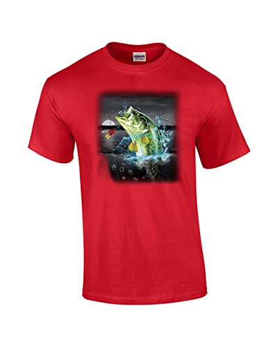 Bass in The Wilderness Adult T-Shirt-Red-XXXL