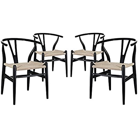 Modway Amish Dining Armchair Black Set Of 4