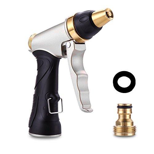 Garden Hose Spray Gun High Pressure Multi-functional Adjustable Watering Gun Brass Metal Hose Nozzle for Car Washing Garden Irrigation and Floor Cleaning