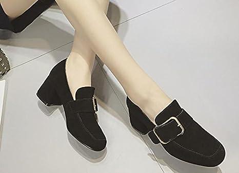 2017 primavera lateral hebilla única piel zapatos mujer con tacones altos zapatos de hebilla de metal con mate, negro, 7,5: Amazon.es: Deportes y aire libre