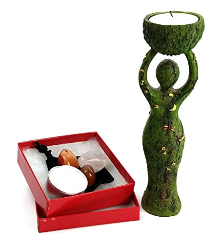 Nurturing Goddess Statue and Tealight Candles Holder Includes 2 Tealights and 3 Assorted Healing Stones in a Drawstring Velvet Pouch bundle by Imprints Plus (32438) by Imprints Plus