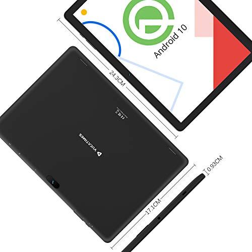 VUCATIMES N10 10-Inch Tablet, Android 10.0, 32GB Storage, A53 Quad-Core Processor, IPS HD Display, Bluetooth 4.2, WiFi, Black