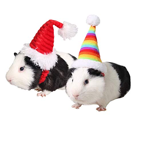 ASOCEA 2 PCS Small Pet Holiday Elastic Hat Hamster Kitty Santa Hat Headwear Costume Collection Pet Accessory for Small Dog Bunny Guinea Pig Small Animals Red Daily Wear Party