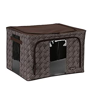 PPCP Storage Box Rattan Fabric Portable Storage Box 66L Large Storage Box (Color : Brown)