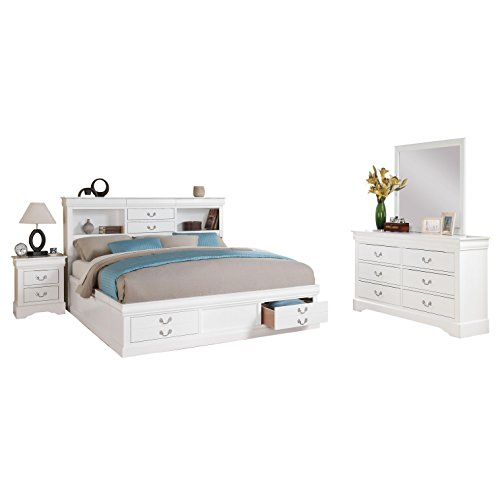 acme White Furniture Louis Philippe III 4-Piece Storage Bedroom Set Eastern King