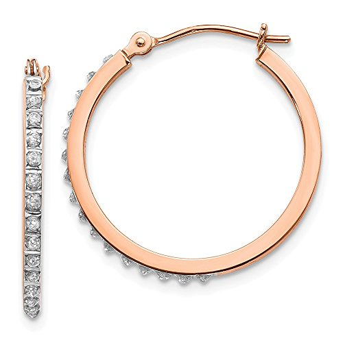 14k Rose Gold Diamond Fascination Round Hinged Hoop Earrings Ear Hoops Set Fine Jewelry Gifts For Women For Her