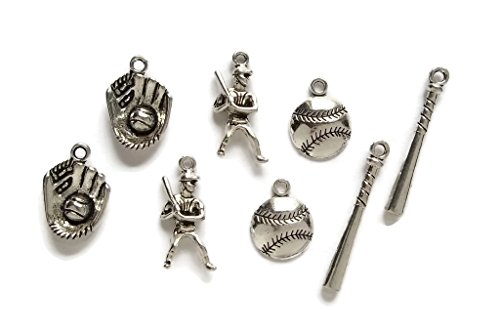 Baseball DIY Charms 8pc set Catcher's Mitt Baseball Bat Batter Baseball Jewelry Making Supply Lead Free Pewter Charms (Sport Charm Baseball)