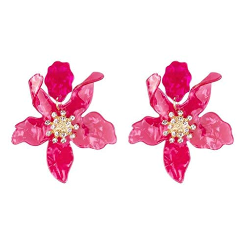 Miweel Bohemian Luxury Oversize Resin Big Flower Earrings For Women Stainless Steel Crystal Jewelry (Rose1)