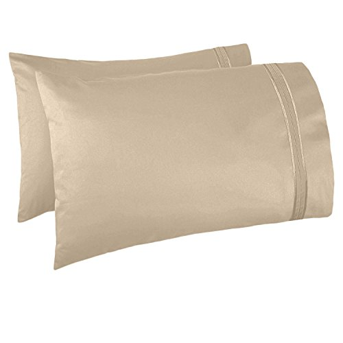 Nestl Bedding Set of 2 Premium Pillowcases - Luxury Super Soft 100% Double Brushed Microfiber, Hypoallergenic & Breathable Design, Soft & Comfortable Hotel Luxury - Standard/Queen - Beige -