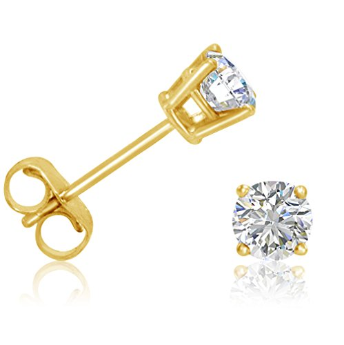AGS Certified 1/2ct tw Round Diamond Stud Earrings in 14K Yellow - Solitaire 14k Earrings Diamond