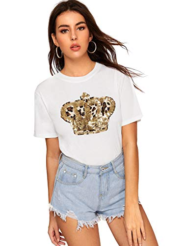 SOLY HUX Women's Summer Round Neck Short Sleeve Sequin Tee Shirts Solid Top White XL