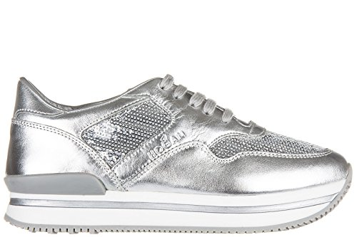 Hogan scarpe sneakers bambina pelle nuove h222 allacciato argento