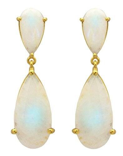 YoTreasure Rainbow Moonstone Gold Plated Over Brass Dangle Statement Earrings Jewelry