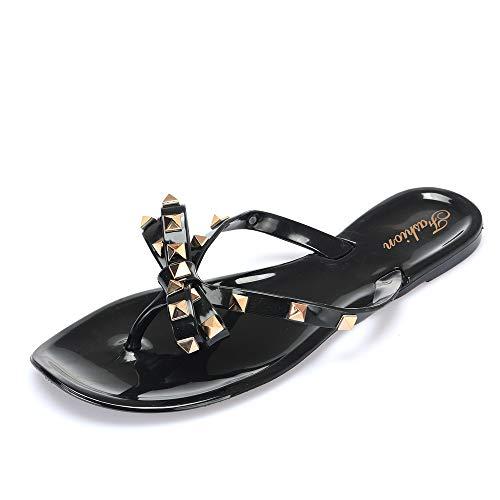 Mafia store Summer Bowtie Flower Flat Sandals Slippers Fashion Female Beach Flip Flops Pink Black Patent Leather Rivets Bowties Cute Sandals (US 5 /EU 36, Black)]()