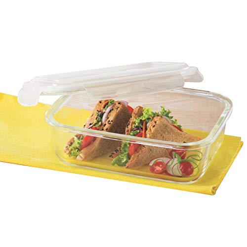 Borosil Klip-N-Store Glass Storage Container For Kitchen With Air-Tight Lid, Microwave & Oven Safe, Rectangular, 370 ml…