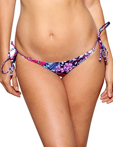 RELLECIGA Women's Purple Floral Tie Side Thong Bikini Bottom Size ()
