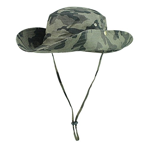 (FayTop Unisex Outdoor Hiking hat Camouflage Boonie Hat Adjustable Bucket Hats Wide Brim UV 50+ Sun Protection Hats Cap for Men Women B10031-Army Green Camo)
