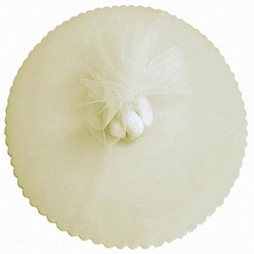 50 Ivory Scalloped Tulle Circles 12