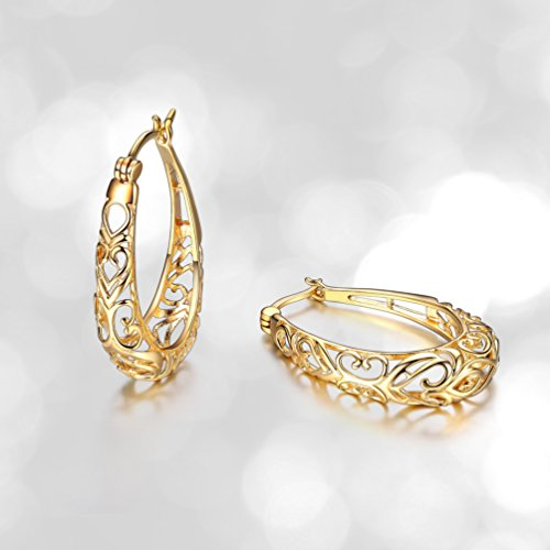 18k Yellow Gold Plated Sterling Silver Filigree Oval Hoop (Filagree Hoop)