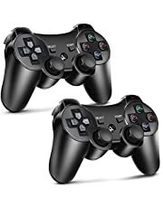 PS3 Controller, Wireless Remote Controller 2 Pack High Performance Gaming Controller for Sony Playstation 3 with 6-axis, Dual Motors, Charging Cord, Black