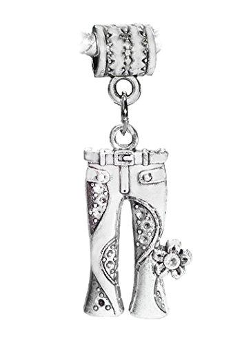 Jeans Floral Flower Hippie Pants 1960's Charm for European Bracelets
