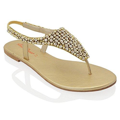- ESSEX GLAM Womens Diamante Pearl Toe Post Flat Sandals (9 B(M) US, Gold)