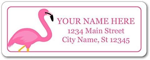 Personalized Return Address Labels 120 Custom Self-Adhesive Stickers Pink Flamingo Decor Design