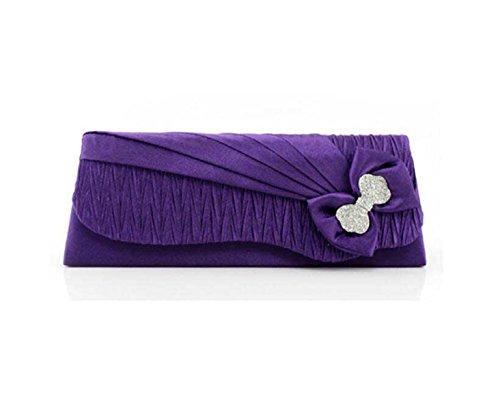 Señora De Seda Bolso De La Cena De La Flor Bolso De Las Señoras Follaje Teléfono Móvil Bolsa De Cosméticos Purple