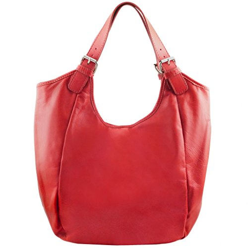 Tuscany Leather Gina Borsa shopping donna in pelle Rosso Lipstick Rosso Lipstick