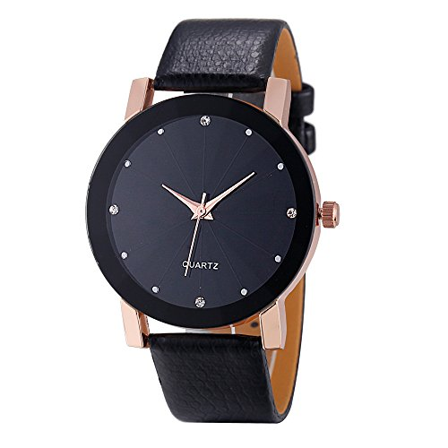 Men's Watches Sport Military Stainless Steel Dial Easy Reader Leather Bands Quartz Wrist Watch (Rose Gold)