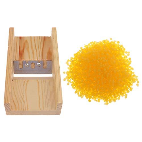 SM SunniMix Wooden Soap Beveler Planer Candle Soap Trimmer Cutter Cutting Tools + 100g Yellow Bee Wax Pellets Handmade Soaps - Trimmer Bee Cutter